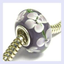 STR Silver Amethyst Murano FLOWER Glass Round Bead for European Charm Bracelet