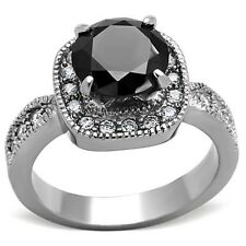 Ladies New Stainless Steel 9mm Round Black CZ Halo Engagement Ring Size 5 - 10