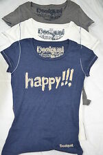 Desigual designer t- shirt, Happy ! Blue, white or grey sizes S M L NEW