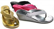 Glitter Wedge Flip Flops Thongs Sandals Black Silver Pink Gold Size 5 -11 NWT
