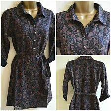 NEW WHITE STUFF BLACK PURPLE TOP BLOUSE TUNIC SHIRT CASUAL FLORAL PRINT 8 -18