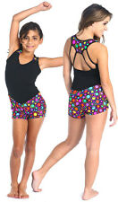 NEW BIKETARD DIVA NISTA Leotard Gymnastics Gia-Mia Black CirclesPrint All Sizes