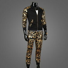 Fashion Tracksuit 2 Pcs Mens Glitter Letter Print Zip Up Jacket Pants Sweat Suit