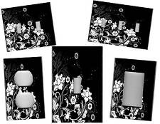 WHITE FLOWERS ON BLACK - BLACK AND WHITE FLORAL DECOR - LIGHT SWITCH PLATE