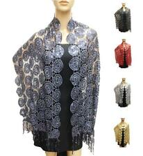 Sequin Swirl Lace Circle Crochet Sheer Evening Shawl Long Scarf Wrap Tassels