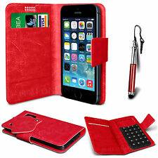 Red Leather Suction Wallet Flip Mobile Phone Case For Various LG Models