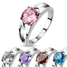Stainless Steel Solitaire CZ Prong Set Hollow Ring Wedding Band Engagement Ring