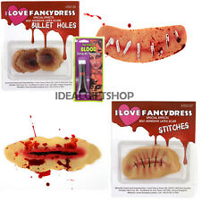 REALISTIC LATEX SCARS WITH FREE BLOOD CUT THROAT HALLOWEEN FANCY DRESS GORY