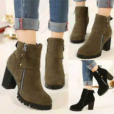 Womens High Heels Cleated Sole Splice Zippered Suede Booties Sexy Ankle Boots