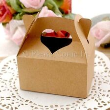 50/100 Rustic Heart Handle Kraft Wedding Favour Bomboniere Gift Boxes