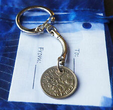 Sixpence Coin Gift keyring: choose year : unusual Birthday / Anniversary present