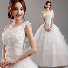 NEW One Shoulder Formal White Wedding Dress Bridal Gown Flowers Lace Up Y200R