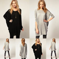 Sexy Womens Hot Casual Batwing Sleeve Over Size Blouse Tops Loose Long T Shirt