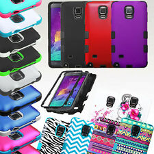 For Samsung Galaxy Note 4 TUFF Hybrid Rubber Hard Protective Case Cover