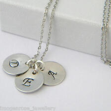 Silver Initial Personalised Disc Necklace - Choose Up to 4 Disc Pendants