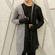 Men Shirring Draped Contrast Color Shirt Long Sleeve Gloves Cardigan Thin Jacket