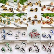 10x Silver Gold Plated Rhinestone Loose Spacers Ball Charm Bead For Bracelet DIY