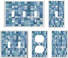 IMAGE OF GLASS TILE BLUE  LIGHT SWITCH COVER PLATE OT OUTLET U PICK