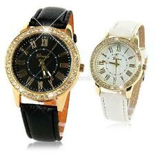 Ladies Women Leather Strap Geneva Bling Crystal Quartz Wrist Watch Bracelet E42