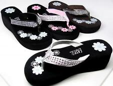 Women's Bling Flip Flops Platform Wedge Thongs Sandals Rhinestone Look Size 5-11