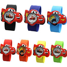 Cute Cartoon Car Unisex Children Bendable Rubber Strap Quartz Sports Wrist Watch
