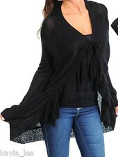 Black Ruffle/Tie Front Soft Sweater Knit Long Sleeve Shrug/Cardigan Cover-Up