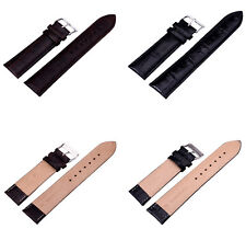 Unisex Quality Leather Alligator Crocodile Grain Watch Strap Band Womens Mens