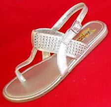 NEW Girl's Youth RACHEL SHOES JORDAN Silver Thong Strappy Sandals Dress Shoes