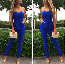 Fashion Womens Bodycon Bandage V-neck Strapless Playsuit Romper Jumpsuit Pants