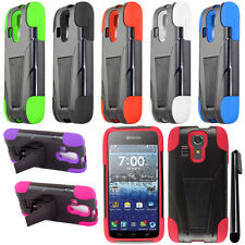 For Kyocera Hydro Vibe C6725 KICKSTAND HYBRID Rubber Protector Case Cover + Pen