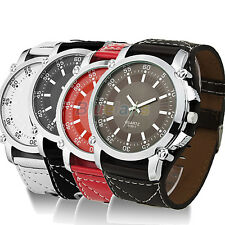 Men Boys Stylish Big Dial  Leather Oversized Quartz Hands Wrist Watch Gift