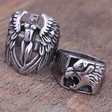 316L Stainless Steel Fashion Silver Angel Wolf Men Vintage Biker Rings Size 8-12