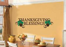 Thanksgiving Blessings Decor Vinyl Decal Wall Stickers Words Lettering Quote Art