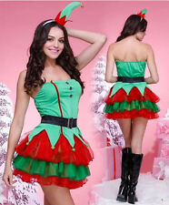 NEW Sexy Santa Elf Ladies Christmas Tree Costume Xmas Fancy Dress Green Outfit