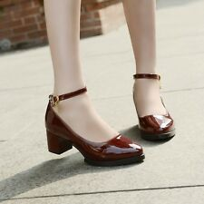 Womens Heels Pumps Closed Toe Ankle Buckle Strap Pointy Toe Shoes Sandals