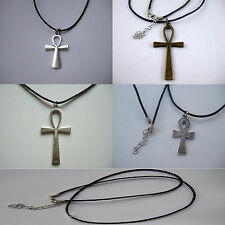 Vintage Egyptian Ankh Cross Charm Black Wax Cord Choker/Necklace 13/18 Inches