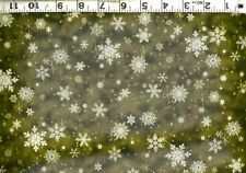 Quilting Treasures ~ Snowflakes Green w/ Metallic ~ 100% Cotton Quilt Fabric BTY