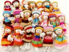 20/100 Mini Fabric Doll Scrapbooking Craft Mixed Colours