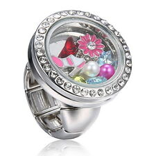 chic Men Women Punk Snap-It Button Floating Charms Locket For Snap Ring Jewelry