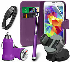 6 in 1 Accessory Pack Leather Wallet Flip Card Slot Case For Mobiles - Purple