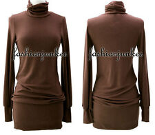 G1 BROWN TURTLENECK SWEATER DRESS Knit Mini Long Sleeve Sexy Tunic Top New S M L