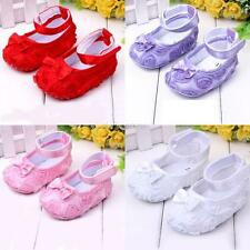 Sweet 0-12M Baby Girls Crib Shoes Rose Flower Bowknot Soft Sole Toddler Shoes