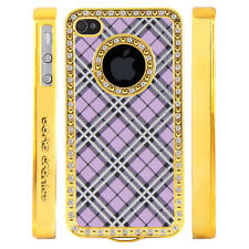 Apple iPhone 5 5S Gem Crystal Rhinestone Purple Silver Black Plaid case