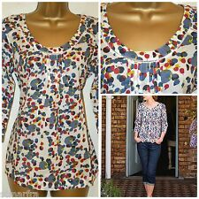 WHITE STUFF MEI TOP TUNIC TOP BLOUSE SHIRT SPOTTED POLKA WHITE BLUE RED 8 - 18