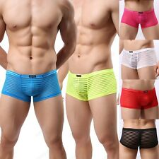 HOT Brand Mens Sexy Striped Sheer Boxer Briefs Underwear 6 Color Size M L XL W25