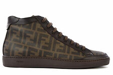 PRADA SCARPE SNEAKERS ALTE UOMO IN PELLE NUOVE MARRONE SHOES MEN'S HIGH TOP  B04