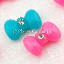Kawaii Flatback Bow with Rhinestone Resin Cabochon Decoden Charm