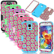 Rose Floral Dual Layers Hybrid Matte Combo Cover Case For Samsung Galaxy Series