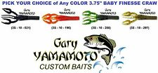 Gary Yamamoto Craw 3.75 Inch Baby Finesse Jig Trailer 10 Pack Any Color Crawdad