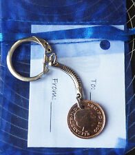 Coin Keyring Birthday Gift and bag & tag: choose coin & year (1984-2013) lot 1d